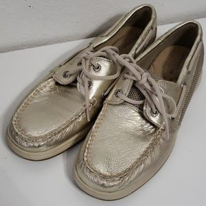 New Sperry Topsiders Silver intrepid size 6.5